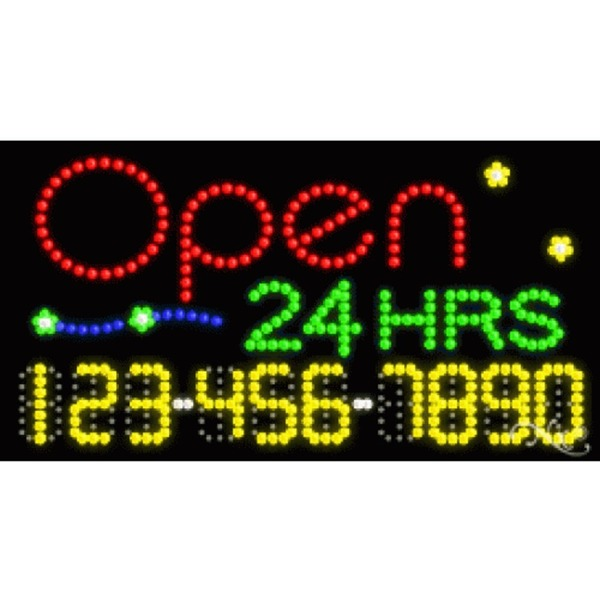 "LED Sign - Open 24 Hrs 17""H x 32""W x 1""D (25028)"