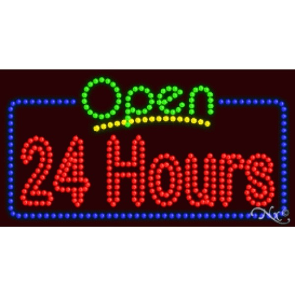 "LED Sign - Open 24 Hours 17""H x 32""W x 1""D (25434)"