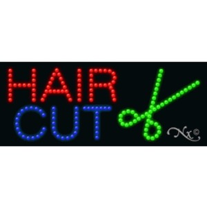 "LED Sign - Hair Cut 11""H x 27""W x 1""D (20072)"