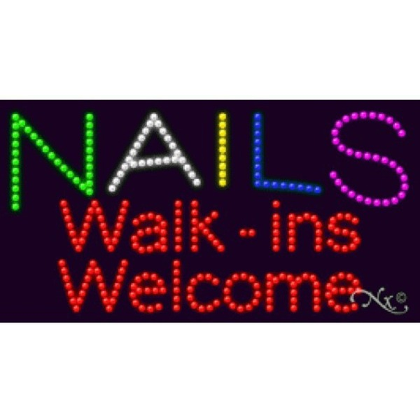 "LED Sign - Nails Walk Ins Welcome 17""H x 32""W x 1""D (20330)"