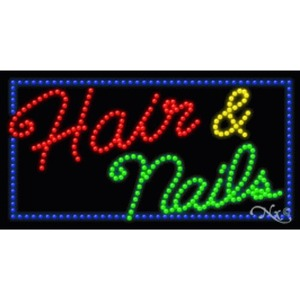 "LED Sign - Hair & Nails 17""H x 32""W x 1""D (20349)"