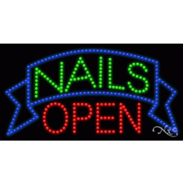 "LED Sign - Nails Open 17""H x 32""W x 1""D (20355)"