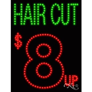 "LED Sign - Hair Cut $ 8 Up 26""H x 20""W x 3""D (20356)"
