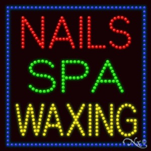 "LED Sign - Nails Spa Waxing 27""H x 27""W x 1""D (20360)"