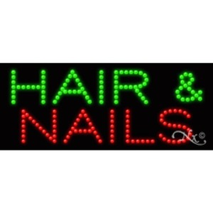"LED Sign - Hair & Nails 11""H x 27""W x 1""D (20362)"