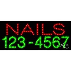 "LED Sign - Nails Phone Number 11""H x 27""W x 1""D (20364)"