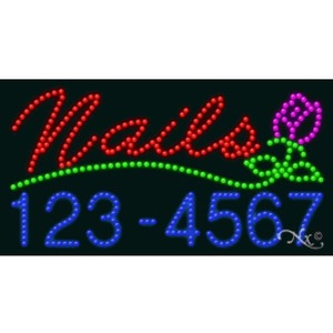 "LED Sign - Nails Phone Number 17""H x 32""W x 1""D (20366)"