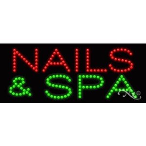"LED Sign - Nails & Spa 11""H x 27""W x 1""D (20368)"