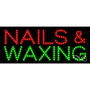 "LED Sign - Nails & Waxing 11""H x 27""W x 1""D (20470)"