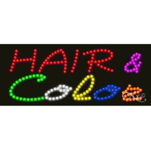 "LED Sign - Hair & Color 11""H x 27""W x 1""D (20557)"