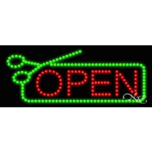 "LED Sign - Hair Cut Open 11""H x 27""W x 1""D (20594)"