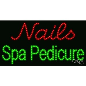 "LED Sign - Nails Spa Pedicure 17""H x 32""W x 1""D (20684)"