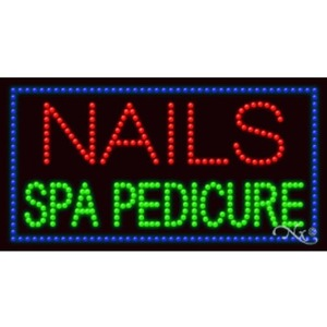 "LED Sign - Nails Spa Pedicure 17""H x 32""W x 1""D (20685)"