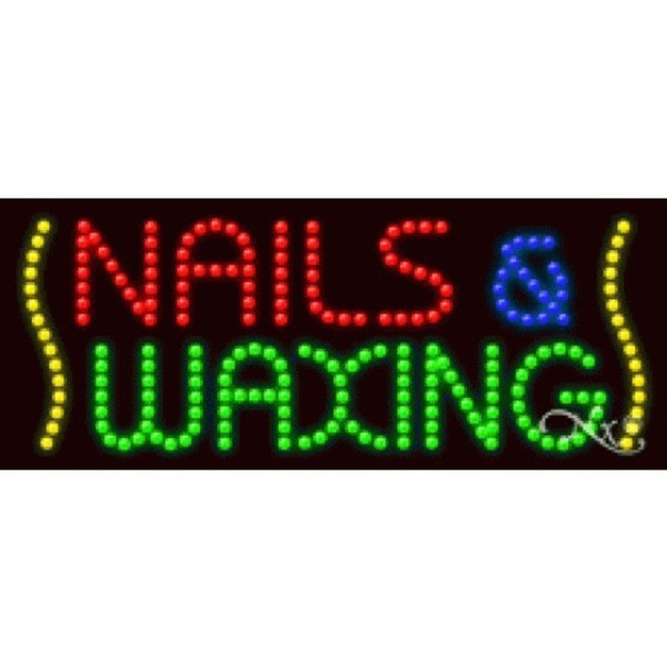 "LED Sign - Nails & Waxing 11""H x 27""W x 1""D (20848)"