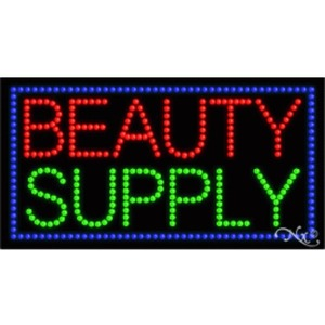 "LED Sign - Beauty Supply 17""H x 32""W x 1""D (21053)"