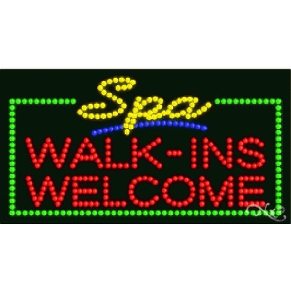"LED Sign - Spa Walk Ins Welcome 17""H x 32""W x 1""D (21114)"