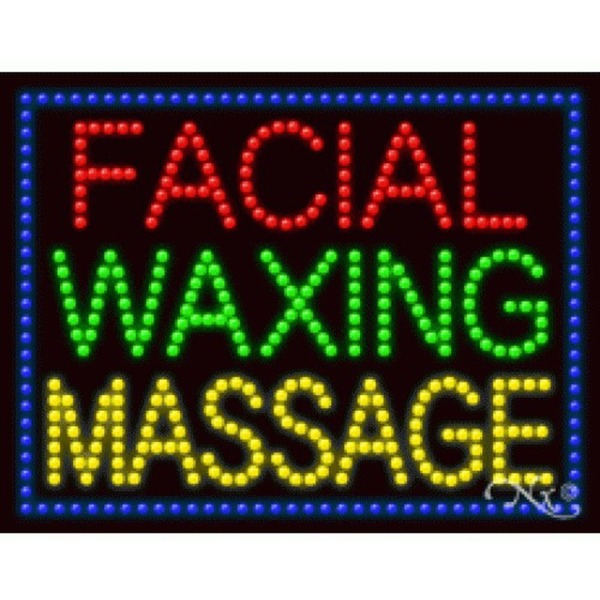 "LED Sign - Facial Waxing Massage 20""H x 26""W x 1""D (21247)"