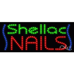 "LED Sign - Shellac Nails 11""H x 27""W x 1""D (21476)"
