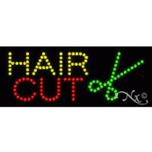 "LED Sign - Hair Cut 8""H x 20""W x 1""D (22075)"