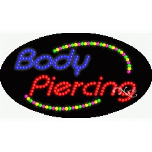 "LED Sign - Body Piercing 15""H x 27""W x 1""D (24009)"
