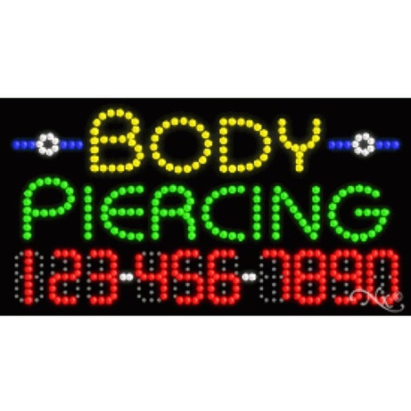 "LED Sign - Body Piercing 17""H x 32""W x 1""D (25097)"