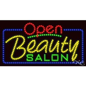 "LED Sign - Beauty Salon Open 17""H x 32""W x 1""D (25401)"