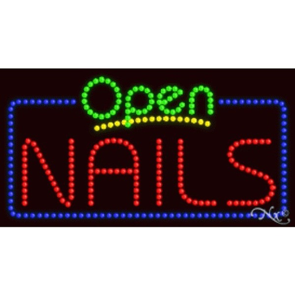 "LED Sign - Nails Open 17""H x 32""W x 1""D (25409)"