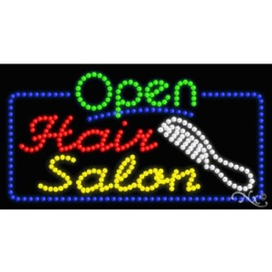 "LED Sign - Hair Salon Open 17""H x 32""W x 1""D (25518)"