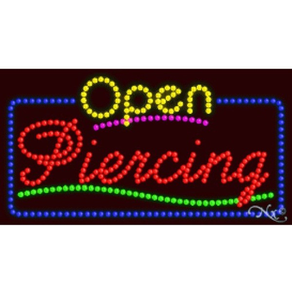 "LED Sign - Piercing Open 17""H x 32""W x 1""D (25557)"