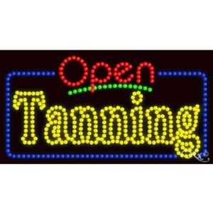"LED Sign - Tanning Open 17""H x 32""W x 1""D (25581)"
