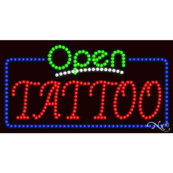 "LED Sign - Tattoo Open 17""H x 32""W x 1""D (25582)"