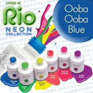 IN STOCK! Ooba Ooba Blue / 0.5 oz. - 15 mL. - Living in Rio Neon Collection - Gelish Soak Off Gel Nail Polish by Nail Harmony