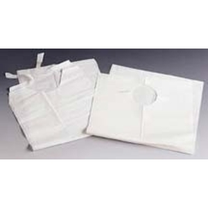 "Lab Bibs Tissue Poly Tie Back 16"" White"