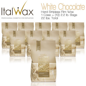 ItalWax Film Wax - White Chocolate - Hard Stripless Wax Beads from Italy 1 Case = (10) 2.2 lb. Bags = 22 lbs. Total (FILM-WHITE CHOCOLATE-HARD-2.2 LB.BAG X 10)