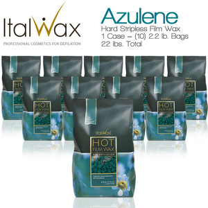 ItalWax Film Wax - Azulene - Hard Stripless Wax Beads from Italy 1 Case = (10) 2.2 lb. Bags = 22 lbs. Total (FILM-AZULENE-HARD-2.2 LB.BAG X 10)