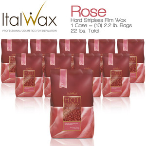 ItalWax Film Wax - Rose - Hard Stripless Wax Beads from Italy 1 Case = (10) 2.2 lb. Bags = 22 lbs. Total (FILM-ROSE-HARD-2.2 LB.BAG X 10)