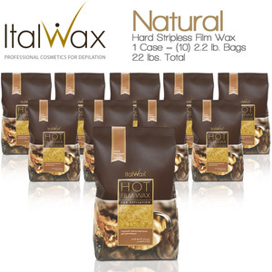 ItalWax Film Wax - Natural - Hard Stripless Wax Beads from Italy 1 Case = (10) 2.2 lb. Bags = 22 lbs. Total (FILM-NATURAL-HARD-2.2 LB.BAG X 10)