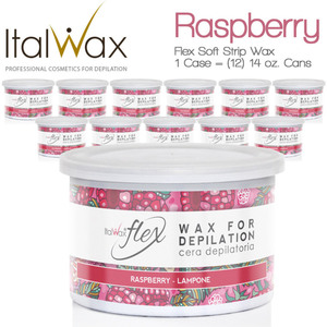 ItalWax Flex Wax - Raspberry - Soft Strip Wax from Italy 1 Case = (12) 14 oz. Cans (FLEX-RASPBERRY-14OZ.CAN X 12)