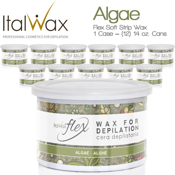 ItalWax Flex Wax - Algae - Soft Strip Wax from Italy 1 Case = (12) 14 oz. Cans (FLEX-ALGAE-14OZ.CAN X 12)
