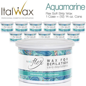 ItalWax Flex Wax - Aquamarine - Soft Strip Wax from Italy 1 Case = (12) 14 oz. Cans (FLEX-AQUAMARINE-14OZ.CAN X 12)