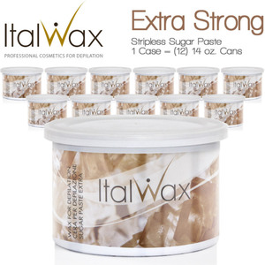 ItalWax Water Soluble Stripless Sugar Paste from Italy - Extra Strong 1 Case = (12) 14 oz. Cans (SUGAR-EXTRA-14OZ.CAN X 12)