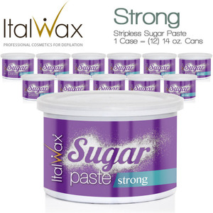 ItalWax Water Soluble Stripless Sugar Paste from Italy - Strong 1 Case = (12) 14 oz. Cans (SUGAR-STRONG-14OZ.CAN X 12)