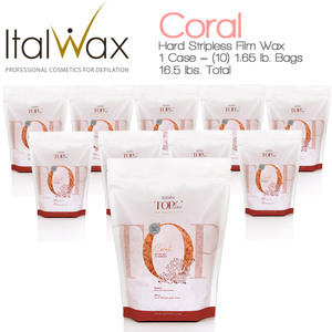 ItalWax Top Formula Synthetic Film Wax - Coral - Hard Stripless Wax Beads from Italy 1 Case = (10) 1.65 lb. Bags = 16.5 lbs. Total (FILM-CORAL-HARD-1.65LB.BAG X 10)
