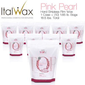 ItalWax Top Formula Synthetic Film Wax - Pink Pearl - Hard Stripless Wax Beads from Italy 1 Case = (10) 1.65 lb. Bags = 16.5 lbs. Total (FILM-PINK-PEARL-HARD-1.65LB.BAG X 10)