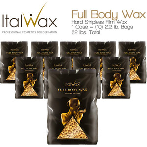 ItalWax Film Wax - Full Body Wax - Hard Stripless Wax Beads from Italy 1 Case = (10) 2.2 lb. Bags = 22 lbs. Total (FULL-BODY-HARD-2.2 LB.BAG X 10)