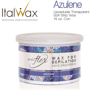 Italwax Flex Liposoluble Transparent Wax - Azulene - Soft Strip Wax from Italy 14 oz. Can (AZULENE-14OZ.CAN X 1)