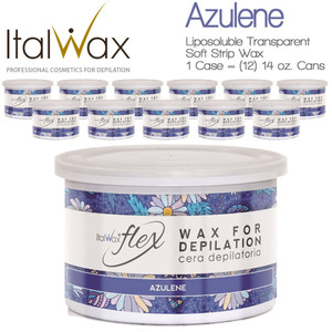 Italwax Flex Liposoluble Transparent Wax - Azulene - Soft Strip Wax from Italy 1 Case = (12) 14 oz. Cans (AZULENE-14OZ.CAN X 12)