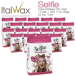 ItalWax Film Wax - Selfie Wax for Face - Hypoallergenic Hard Stripless Wax Beads from Italy 1 Case = (20) 1.1 lb. Bags = 22 lbs. Total (SELFIE-WAX-1.1-LB-BAG X 20)