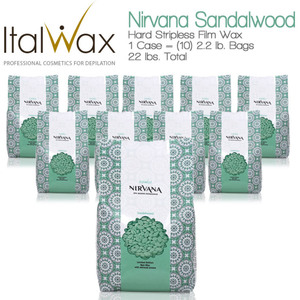 ItalWax Film Wax - Nirvana Premium SPA Sandalwood - Hard Stripless Wax Beads from Italy 1 Case = (10) 2.2 lb. Bags = 22 lbs. Total (NIRVANA-SANDAL-HARD-2.2 X 10)