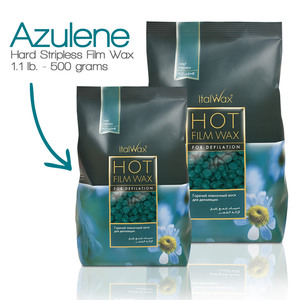 ItalWax Film Wax - Azulene - Hard Stripless Wax Beads from Italy 1.1 lbs. - 500 Gram Bag (FILM-AZULENE-HARD-1.1 LB.BAG X 1)